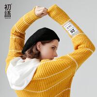 初语2017秋冬新款 长袖加厚印花圆领宽松长袖条纹套头针织女毛衣