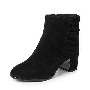 Teenmix/天美意2017冬黑色羊绒皮褶皱边优雅粗跟女短靴(绒里)1016ADD7