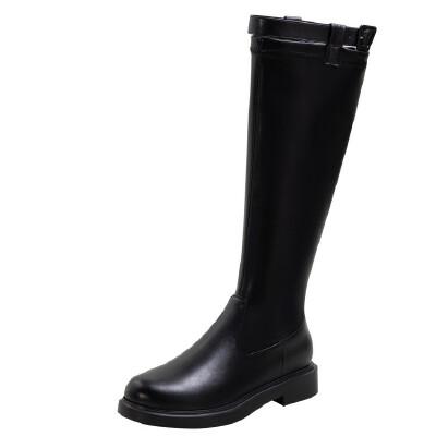WARORWAR法国2019新品YG09-533冬季韩版反绒粗跟鞋高跟鞋女鞋潮流时尚潮鞋百搭潮牌靴子切尔西靴短靴