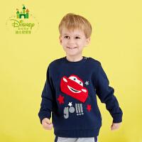 迪士尼Disney童装男童套头针织衫纯棉新款秋装宝宝圆领长袖毛衣173S940