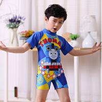 男孩儿童连体平角裤游泳衣卡通中大男童小学生泳装3-4-6-7-10岁12 蓝色连体托马斯