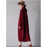 秋冬连衣裙羊绒针织打底衫 超长款毛衣长袖大码女装宽松过膝长裙