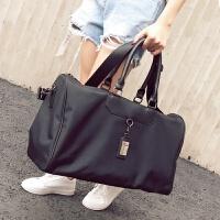 欧美时尚旅行包女手提包旅行袋行李包长短途旅游包健身包大包 黑色