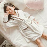 秋天冬季法兰绒儿童睡袍珊瑚加厚睡衣女童小孩宝宝浴袍加绒加厚潮 白色