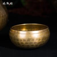 藏传佛教用品修行法器尼泊尔手工铜瑜珈颂钵铜磬转经碗佛音碗 直径17.5cm 高10cm