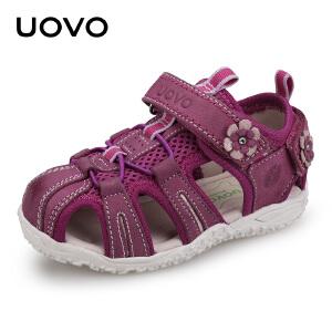 UOVO新款男童凉鞋中小儿童凉鞋女包头软底羊皮夏季宝宝沙滩鞋 自然之子
