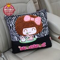 摩丝娃娃可爱汽车内饰品套装防滑垫头枕手刹后视镜套抱枕靠枕坐垫