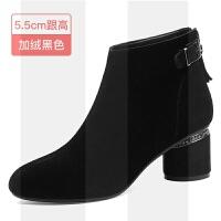 黑色短靴女春秋2018新款磨砂粗跟高跟鞋女鞋冬翻毛皮中跟真皮靴子SN8814 34 女款