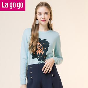 Lagogo/拉谷谷2017冬季新款直筒圆领长袖针织衫