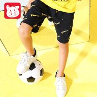 【下单即享5.5折】小猪班纳童装男童运动裤2018夏装新款短裤中大童中裤儿童休闲裤子