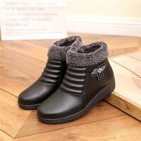 冬季加绒保暖女棉靴女防水防滑坡跟妈妈鞋棉鞋短筒女靴子短靴女鞋 黑色 802加棉