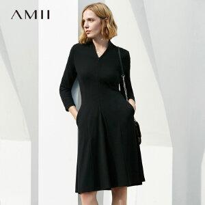 【到手价:168.9元】Amii极简名媛风气质小V领修身连衣裙2019春新弹力显瘦中长裙装