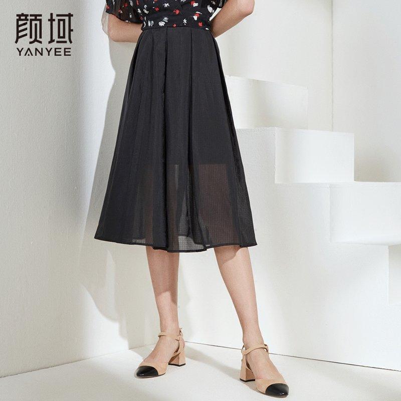 颜域品牌女装2018夏季新款时尚A字黑色半身裙双层网纱中长款裙子