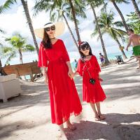 洋气女童连衣裙夏季2018新款海边度假女孩长袖公主长裙儿童沙滩裙 红色 大红赞