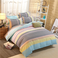 ???床上用品四件套格子纯棉全棉1.8m床单双人2.0米被套被子三件套1.5 学生3件 被套150*200床单160*