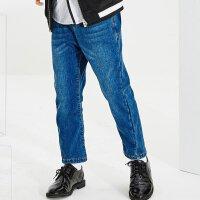 【2件2.5折叠券价约:42.7,11月16日仅一天】米喜迪mecity童装冬新款男童加绒加厚牛仔裤廓型牛仔长裤