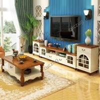 zuczug地中海电视柜组合客厅家具欧式风格实木边柜简约烤漆美式乡村地柜 组装