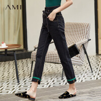 【预估价174元】Amii极简时尚高腰直筒九分裤牛仔裤女2019新款黑色休闲裤子纸袋裤