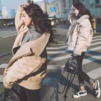 韩国宽松羊羔毛外套女短款秋冬季新款韩版鹿皮绒皮毛一体机车外套 图片色