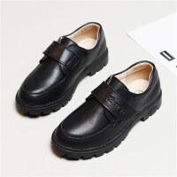 儿童皮鞋男男童黑色英伦风春秋款演出鞋小学生黑软底单鞋童鞋 黑色