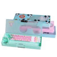迪士尼米奇学生文具盒小清新透明窗塑料笔盒男女铅笔盒儿童文具盒