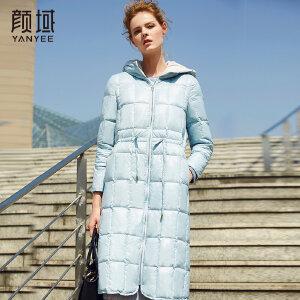 颜域品牌女装白鸭绒连帽羽绒服女中长款过膝宽松17冬装款保暖大衣