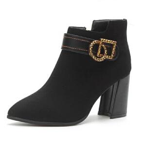 WARORWAR新品YM28-1035冬季欧美磨砂反绒粗跟高跟水钻女士靴子切尔西靴短靴