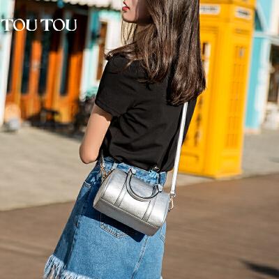 toutou2017新款包包女韩版个性百搭时尚波士顿包枕头包单肩斜挎包金属色风向标 你get了吗