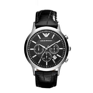 Armani官方阿玛尼黑色皮带男手表 时尚大气多功能石英腕表AR2447