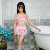 新款热卖雪纺女童游泳衣可爱蝴蝶结可调节泳衣印花大童游泳衣批发 均码(4-7岁)