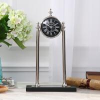 欧式摆件客厅钟表摆设 办公室摆件 创意黑表盘高立钟