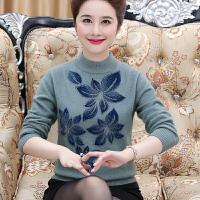 中年女长袖貂绒上衣秋季胖妈妈羊绒衫新款长袖套头毛衣冬款打底衫