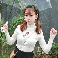 韩版小清新刺绣小高领长袖套头修身针织衫潮春季新款打底衫上衣女