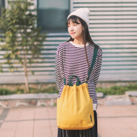 日式学院风帆布包马卡龙多色糖果纯色斜跨帆布女包韩国新款文艺包