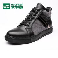 木林森冬季男靴真皮休闲男鞋系带高帮休闲鞋