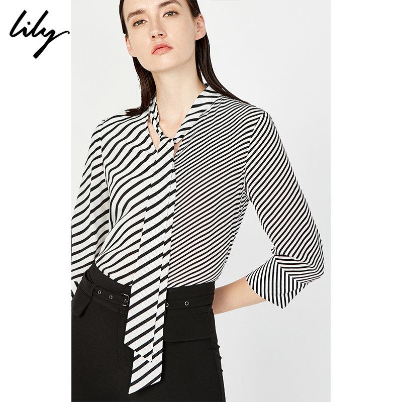 Lily女装黑白条纹拼接系带真丝雪纺衫118249C8976