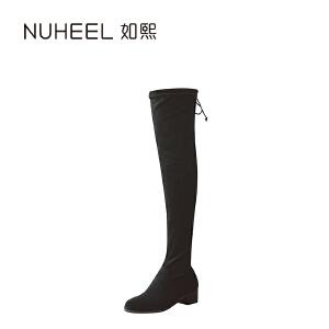 如熙 2017秋冬新款女靴 后系带时尚女靴