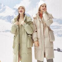 【1件2折到手价:472】美特斯邦威中长款羽绒服女过膝冬季新款显瘦加厚面包服外套女