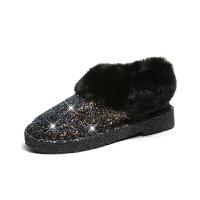 女鞋冬季2018新款韩版百搭雪地靴女加绒加厚保暖短靴毛毛女靴子潮真皮