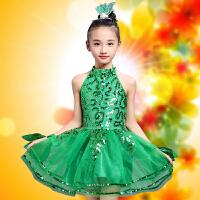 六一儿童演出服女舞蹈幼儿春晓茉莉花小草绿色公主蓬蓬裙表演服装 绿色