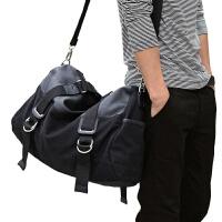 短途旅行包 男 手提男包单肩斜挎包时尚潮流大容量男士休闲包帆布SN5688 黑色 大号