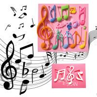 食品级硅胶DIY烘焙翻糖蛋糕装饰模具 吉他跳跃的音符硅胶模具