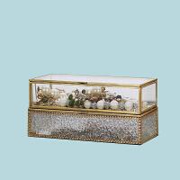 简约现代金边玻璃首饰盒欧式饰品收纳首饰架复古珠宝展示架道具