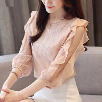 雪纺衫短袖女装夏装2018新款韩版百搭荷叶边蕾丝上衣洋气小衫