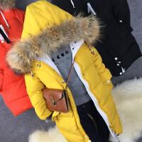 儿童长款羽绒服冬季中大男女童加厚连帽羽绒外套真毛领可拆卸3色