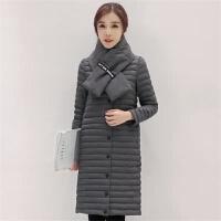 201805152341377212017韩版修身秋冬围巾薄款羽绒服女轻薄立领中长款外套潮 S 95斤以下