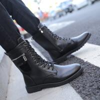马丁靴男韩版潮流高帮皮靴青少年高筒休闲靴秋冬季长靴子加绒