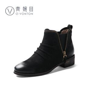 青婉田靴子女春款2018新款休闲百搭切尔西短靴女真皮裸靴女平底靴