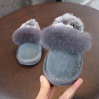 男女童雪地靴真皮软底加厚保暖短靴 宝宝棉鞋防滑新款1-3岁棉靴子