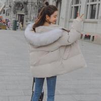 2018秋冬新款休闲棉衣短款韩国学生女士连帽毛领冬季外套